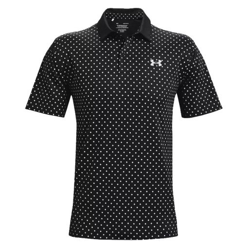 UA Performance Printed Polo - Black/ Halo Gray