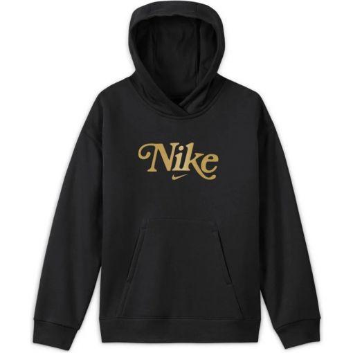 Nike meisjes trui Sportswear Club Fleece - 010 Black/ Met Gold