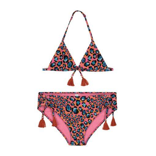 Girls Leopard Spot Triangle Bikini - 401 Azalea Pink