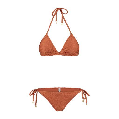 Ladies Textured Leopard Traingle Bikini - 819 Spice Route Brown