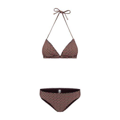 Ladies Retro Miniprint Liz Triangle Bikini - 521 Bourgondy Aubergine