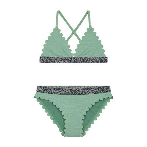 Girls Scallope Triangle Bikini - 777 Dusty Pistache Green