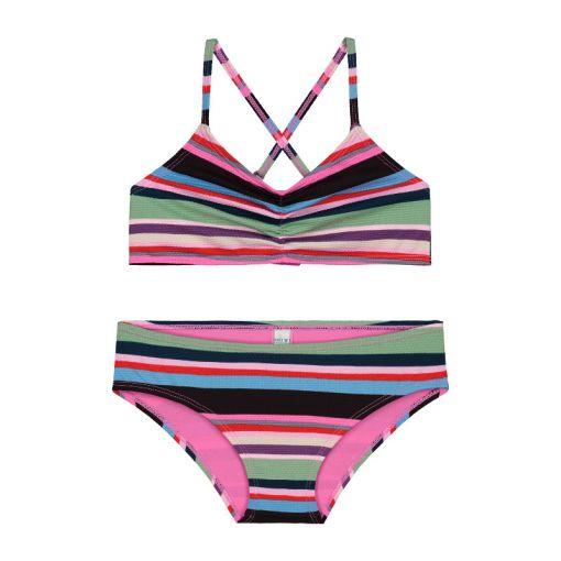Girls Mod Stripe Scoop Top Bikini - Multi