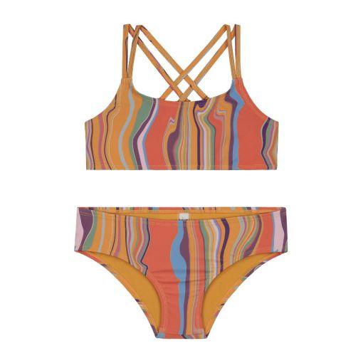 Girls Marble Scoop Top Bikini - Multi