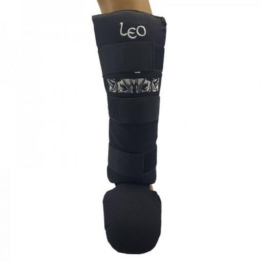 Leo boks scheenbeschermer Pre-Shaded Cotton - Zwart