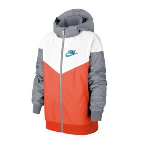 Nike junior windjack Sportswear Windrunner Big Kids - 842 TURF ORANGE/WHITE/WOLF GRE