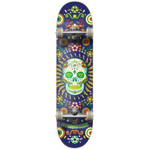 Hydroponic skateboard Mexican Skul - Blauw