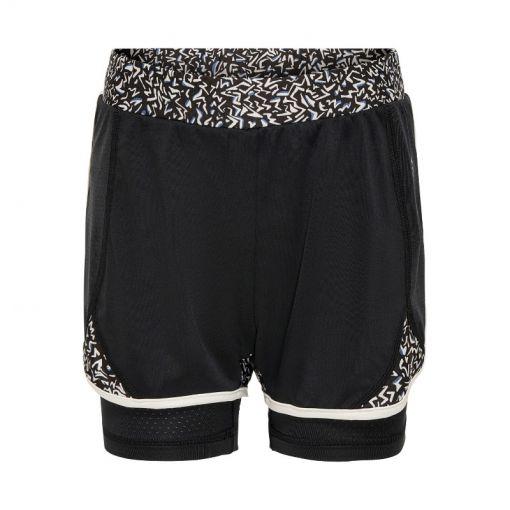 Only meisjes short Judiea AOP Loose Train Shorts - 177911001 Black/w. Bijou Blue