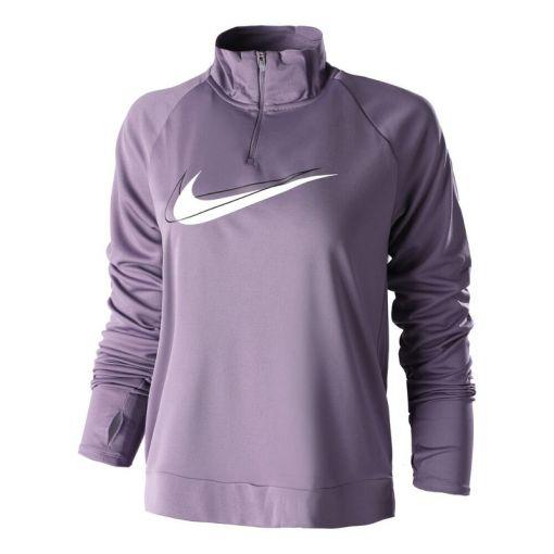 Nike dames sporttop Dri-Fit Swoosh Run Womens 1/4 - 574 AMETHYST SMOKE/WHITE